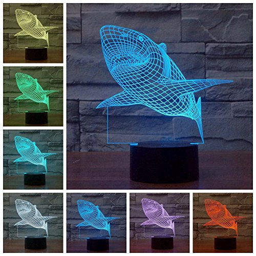 Lightess 3D Night Lamp Touch Control Desk Light Home Decor Funny Gift (Shark)