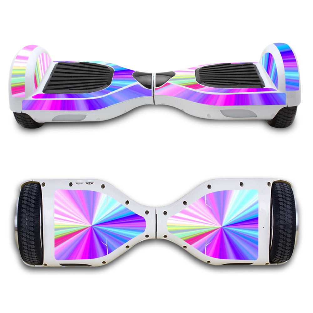 SKINOWN Self Balance Two Wheel Balance Board Hover Scooter Sticker Protective Skin Wrap Adhesive Vinyl Decal Cover Rainbow Zoom