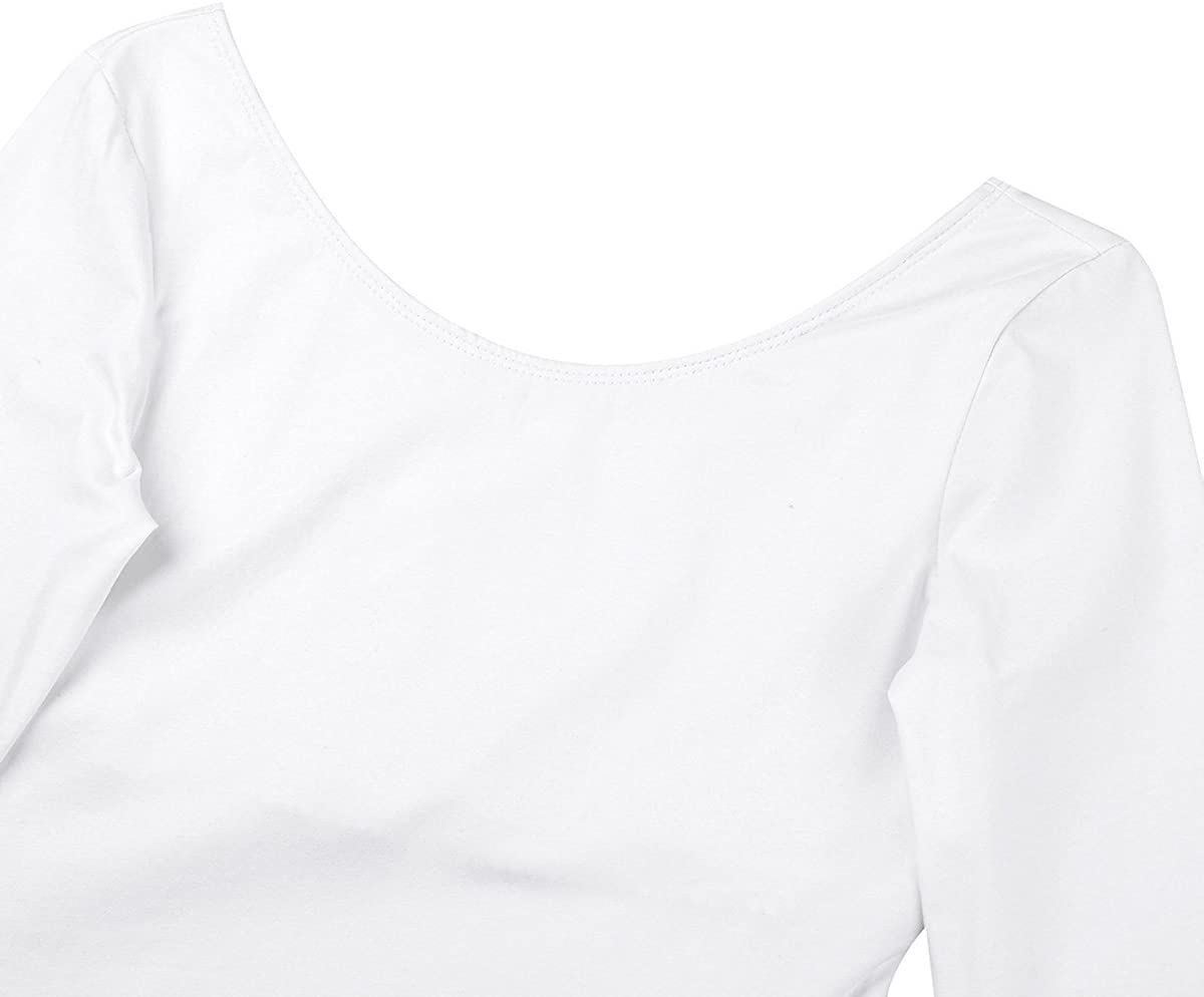 Yeahdor Womens Cotton Long Sleeves Ballet Dance Gymnastics Leotard Bodysuit Dancewear