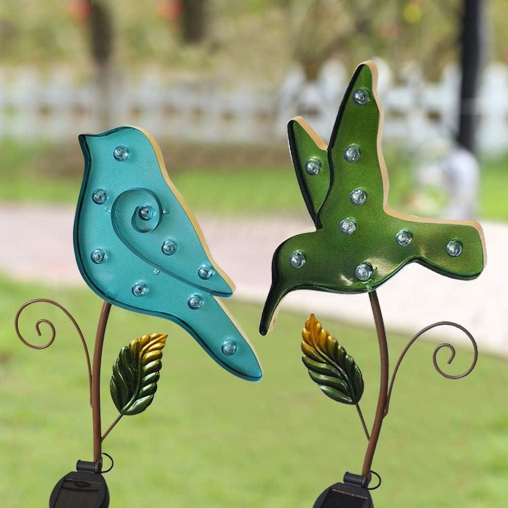 Bright Zeal /Set of 2/ Metal Solar Light Blue & Green Birds Outdoor - Metal Yard Art Statues Stake - LED Garden Stake Light Solar Powered - Solar Bird Stake Light Garden Décor