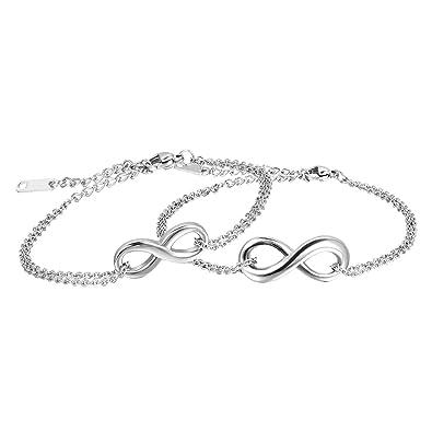 Bracelet Infini Infinity Bracelet de Cheville Pour Amour Couple Femme Homme  Avec Sac Cadeau Bijoux Fantaisie Cadeau de Marige Nouvel An Anniversaire