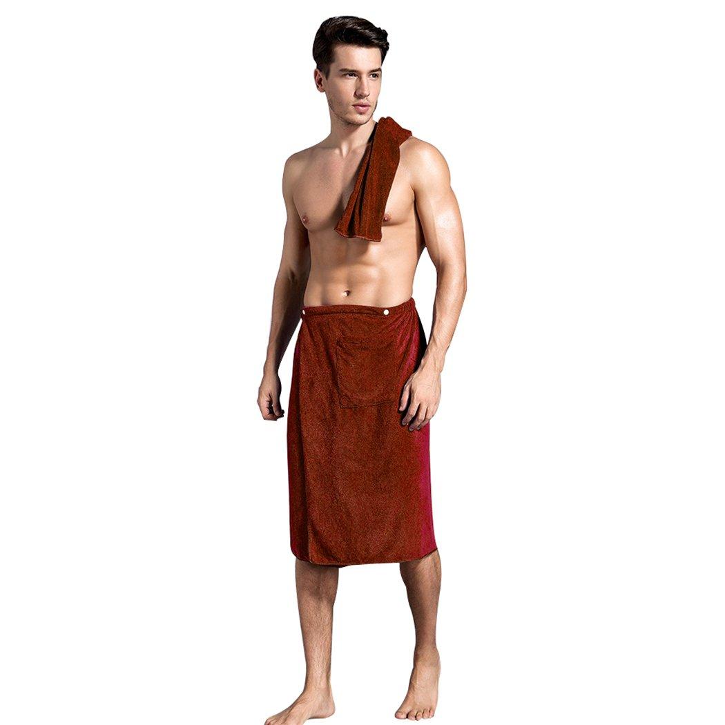 Aniwon Mens Bath Towel Shower Wrap Snap Closure Elastic Bath Wrap Spa Wrap Towel with Pocket Towel