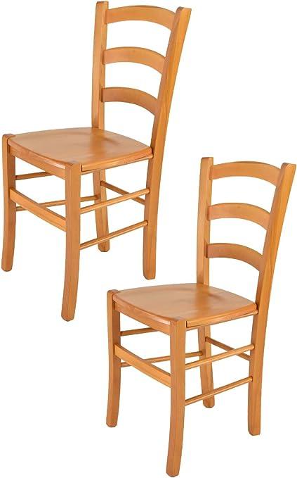 tmcs Tommychairs Set 2 sedie Modello Venice per Cucina e Sala da Pranzo, con Robusta Struttura in Legno di faggio Verniciata Color Miele e con