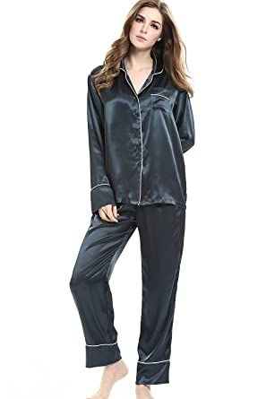 f1e97c5aed Womens Satin Pajamas Set Long Sleeve Button Down Sleepwear with Pants  Gray-Green S