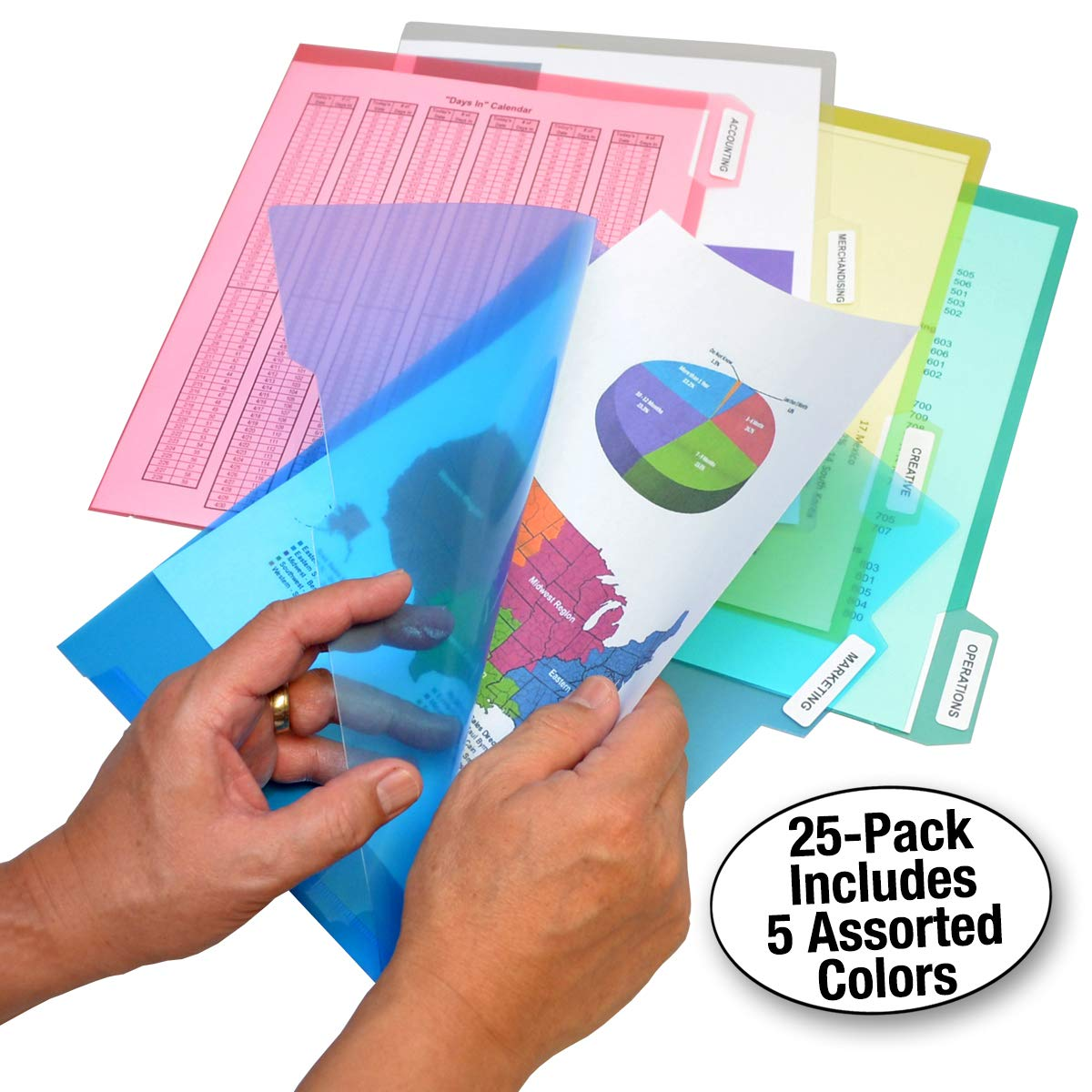 Ultimate Office PocketFile Clear Poly Document Folder Project Pockets, 5th-Cut, Letter Size, in 5 Assorted Colors, Set of 25 by Ultimate Office