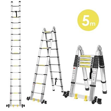 Relativ FIXKIT 5M Alu Teleskopleiter Klappleiter ausziehbare Leiter YR28