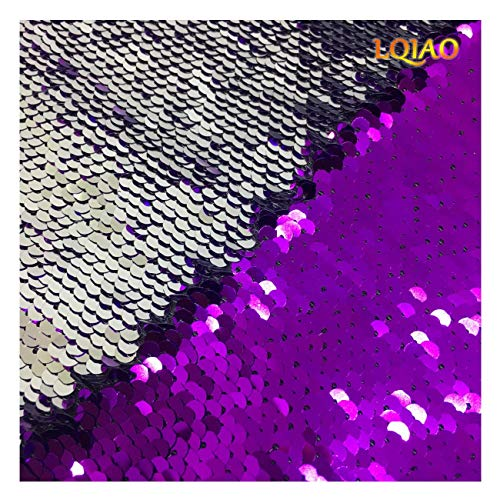 Sequin Fabric Flip UP Purple Silver-Reversible Sequin Fabric Shimmer Sewing Fabric Mermaid Sequins Fabric-Two Tone Sold By The Half Yard