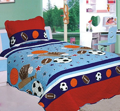 Mk Collection 2 Pc Twin Size Bedspread Boys/Teens Sport Football Basketball Baseball Red Blue #04 New