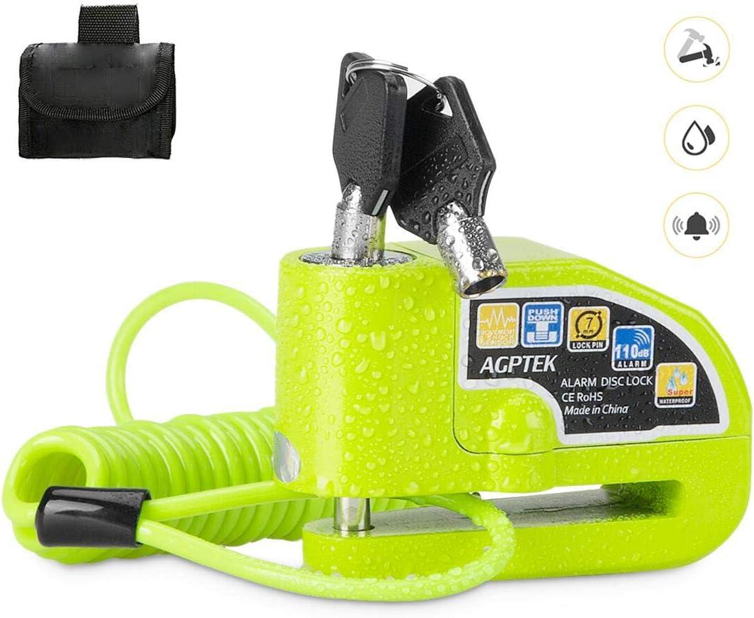 AGPTEK Candado Disco Moto con 1.5M Cable de Recordatorio, Candado Bloqueo 7mm con Alarma 110DB Antirrobo para Motos, Motocicletas, Bicicletas, Verde