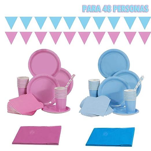 Juego de vajilla completo de 312 piezas para 48 personas, azul y rosa,para Fiesta de Cumpleaños,incluye platos grandes,plato pequeñas, vasos, ...