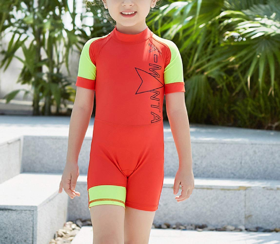 Yunqir Kids Wetsuit Children Short Sleeve One Piece Swimsuits Kids Sunscreen Letter Printing Wetsuit for Water Sports(Orange Red)