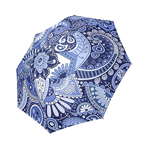 [Bohemian Floral Hippie 100% Polyester Pongee Waterproof Foldable Travel Fashion Umbrella] (1920s Beach Costume)