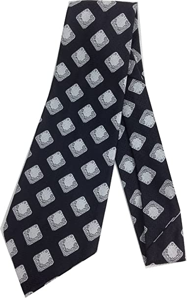 1920s Bow Ties | Gatsby Tie,  Art Deco Tie Diamond Art Deco Black Necktie - Vintage Jacquard Weave Wide Kipper Tie $23.95 AT vintagedancer.com