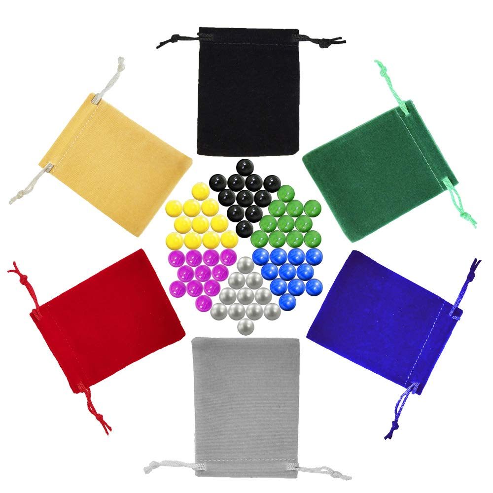 Chinese Checkers Marbles, Glass Replacement Game Marbles, Set of 66, 11 of each Color, with 6 Small Velvet Drawstring Pouches and 1 Large Velvet Drawstring Pouch