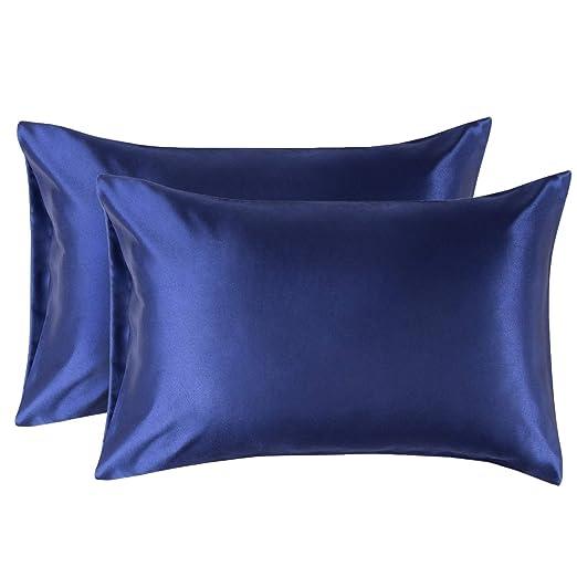 Bedsure Funda Almohada 40x80cm de Satén Pelo Rizado Azul 2 Piezas - Muy Liso Suave de 100% Microfibra sin Cremallera