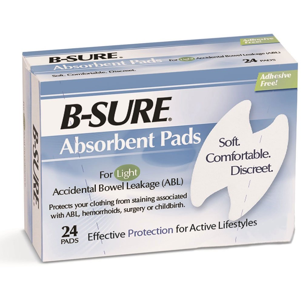 B-Sure Anal Leakage Pads, Case/288 (12 Boxes of 24 pads)