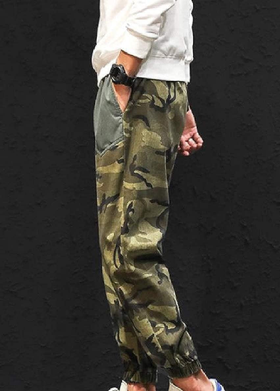 willwinMen WillingStart Men Overalls Splice Haren Pants Camouflage Casual Sports Pants