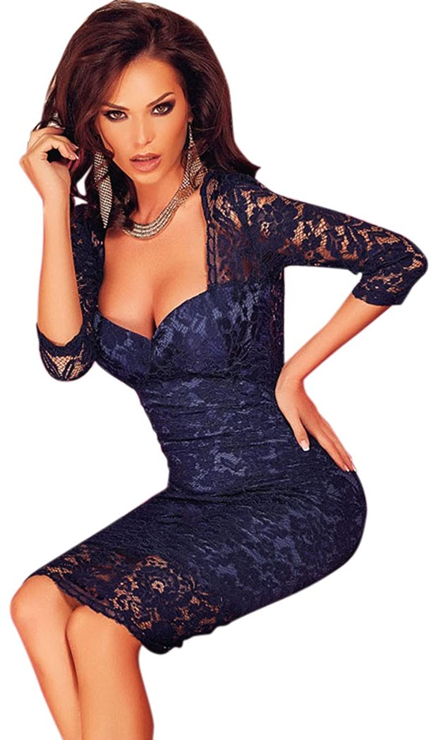 Bling-Bling Womens Navyblue Lace Padded Bust V Back Party Dress One Size