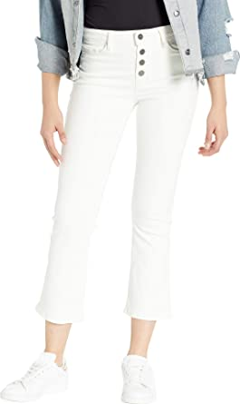 fd76e892 Sanctuary Women's Connector Kick Crop Exposed Fly Jeans in Angeleno White  Angeleno White 24 26