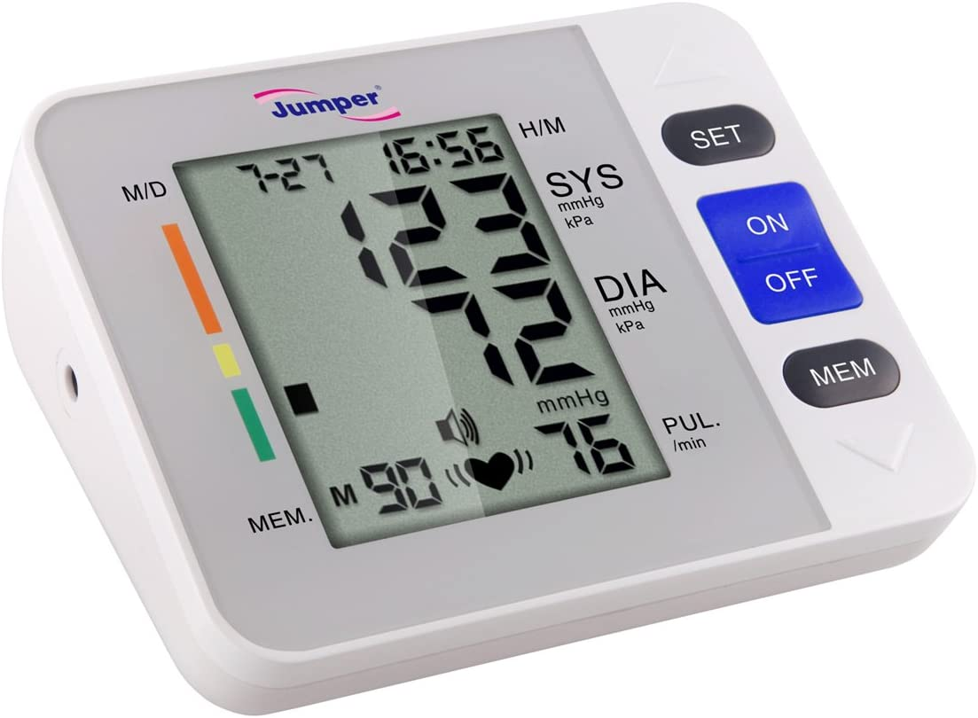 Portable Reliable Digital Upper Arm Blood Pressure Monitor - One Touch Bottom Easy Operation by Jumper