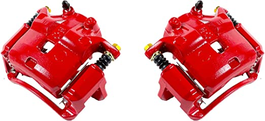 2 FRONT Performance Grade Red Powder Coated Semi-Loaded Remanufactured Caliper Assembly Pair Set CCK11926
