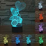 Baby Night Light Bear Balloon 3D Touch Table Desk Lamps, Elstey 7 Color Changing Lights with Acrylic Flat & ABS Base & USB Charger