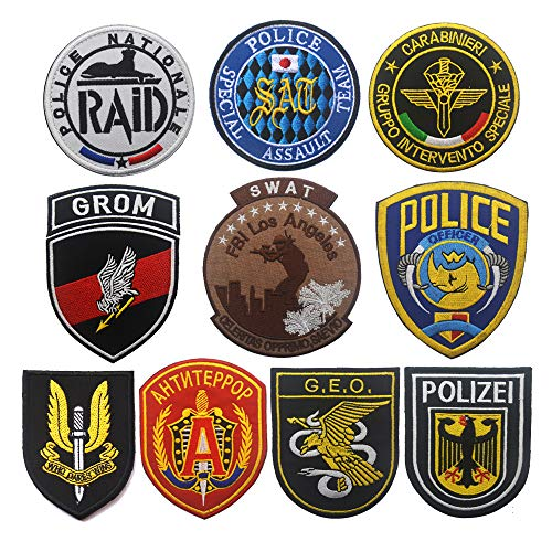 OYSTERBOY France/Russia/Germany/Poland/Italy/Spain/UK/Japan/USA Police Special Unit Tactical Patch Hook & Loop (10Pcs)