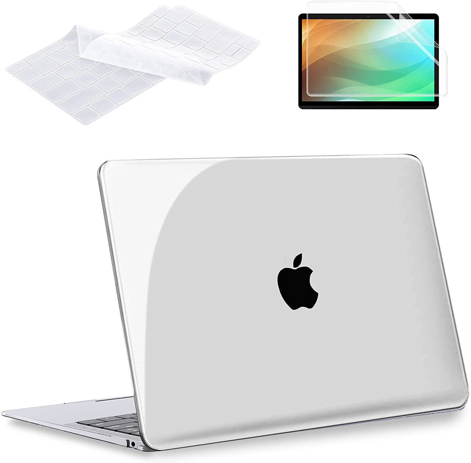 MacBook Air 13 Inch Case 2020 2019 2018 Release A2337 M1 A2179 A1932, G JGOO Crystal Clear Plastic Hard Shell Case & Keyboard Cover & Screen Protector Compatible with Mac Air 13.3 with Retina Touch ID