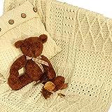 100% Irish Merino Wool Patchwork Blanket 42''x 60'' by Carraig Donn