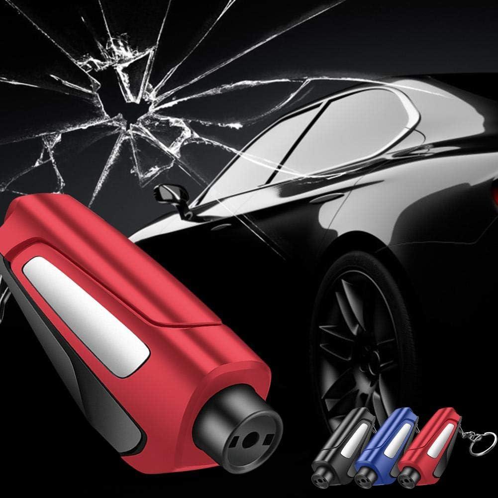 Seasons Shop 3 en 1 Car Life llavero port/átil c/ómodo asiento martillo de seguridad coche ventana rompecristales salvavidas herramienta de rescate Rojo Herramienta de rescate como llavero