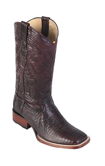 Genuine LIZARD TEJU CHERRY WIDE SQUARE Toe Los Altos Men's Western Cowboy Boot 8220718