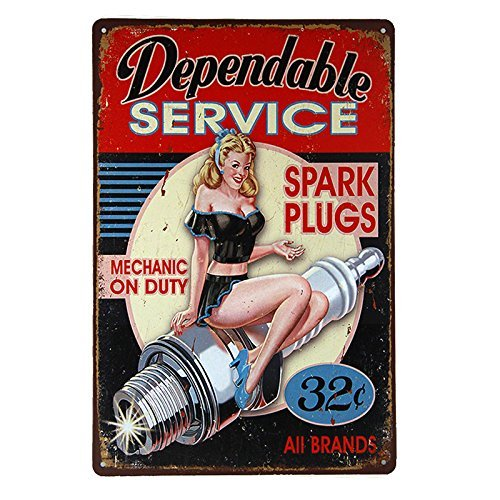 kjkjere Eletina ringet Pinup Decorations , Dl Coffee Bar Decor Dependable Service Spark Plugs Tin/Metal Wall Decoration Sign, Plug ()