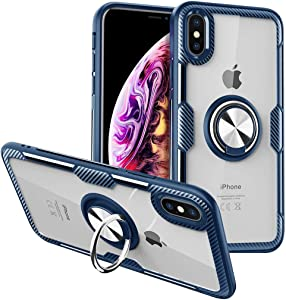 Case for iPhone XR Case Design with 360 Rotating Ring Holder Kickstand Magnetic Back Cover, Hard Plastic Soft TPU Edge Full Protective iPhone XR Clear Case, Slim XR Case iPhone XR Phone Case 6.1-Blue