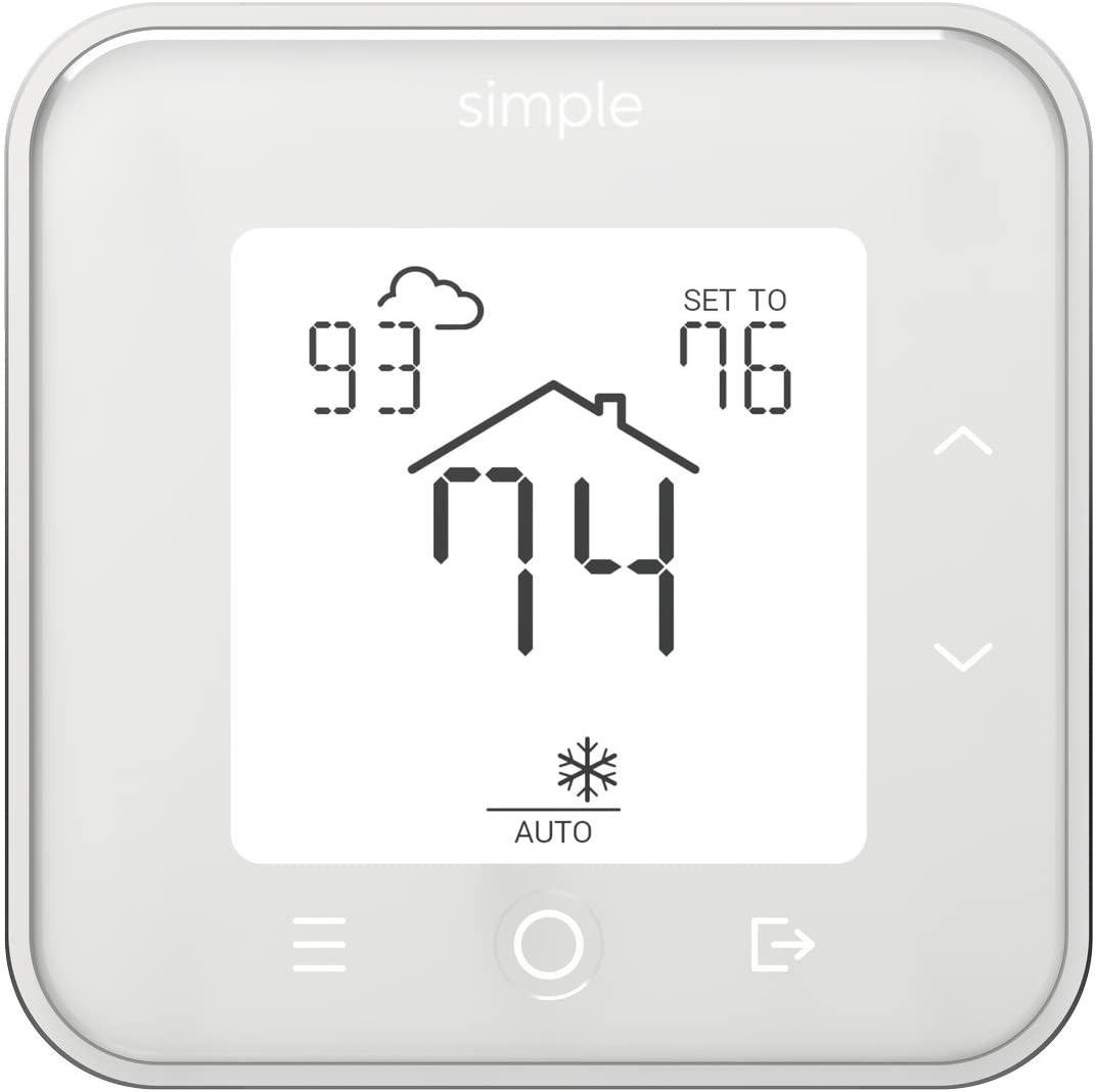 The Simple Thermostat, Energy Star Wi-Fi Smart Thermostat With Mobile App, 7 Day Schedule, Compatible with Alexa (White With C-Wire)