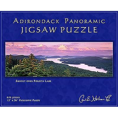 Carl E. Heilman II Adirondack Jigsaw Puzzle, Panoramic, Sunset Over Fourth Lake - FLPZ: Toys & Games