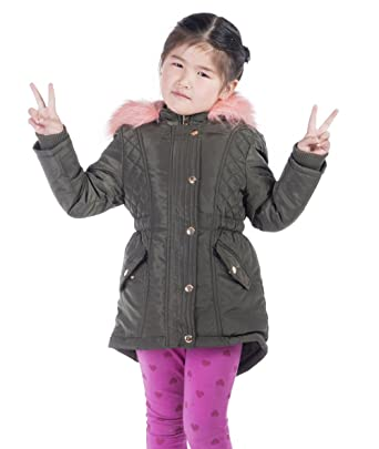 8292c1f99 Amazon.com: Infron IN FRONT Little Girl Winter Warm Down Jacket Faux Fur  Hooded Coat with Elastic Waist: Clothing