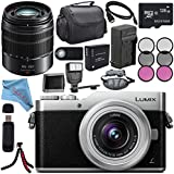 Panasonic Lumix DC-GX850 Micro Four Thirds Mirrorless Camera with 12-32mm Lens (Silver) + Lumix G Vario 45-150mm lens + DMW-BLH7 Battery + Charger + Sony 128GB SDXC Card + Case + Tripod + Flash Bundle