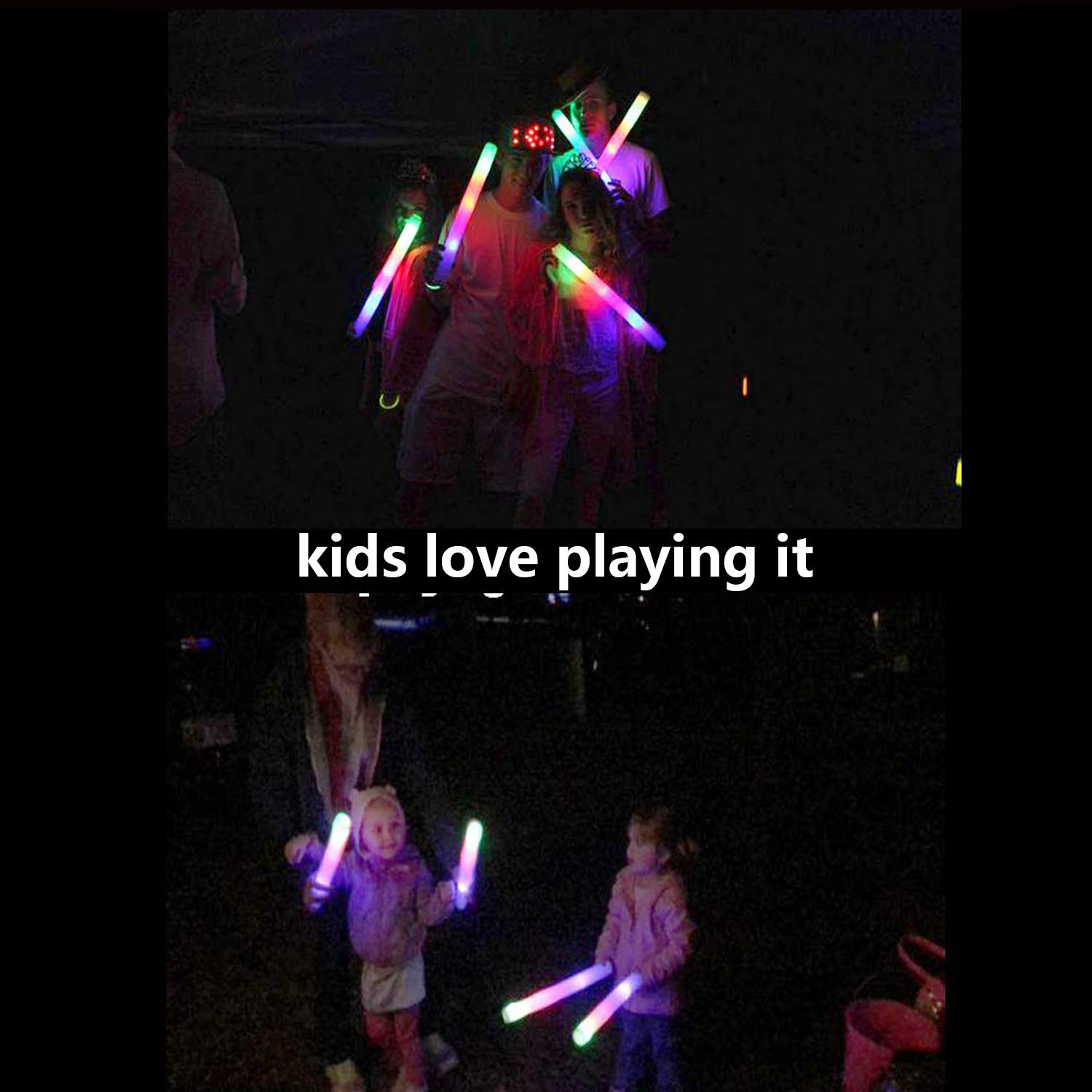 Children Toy Light Up Toys for Party Favors Supplies Festivals Raves YanXi7 30 Pcs Glow Sticks 16 Multicolor LED Light Up Foam Sticks Baton Strobe with 3 Modes Color Changing Flashing