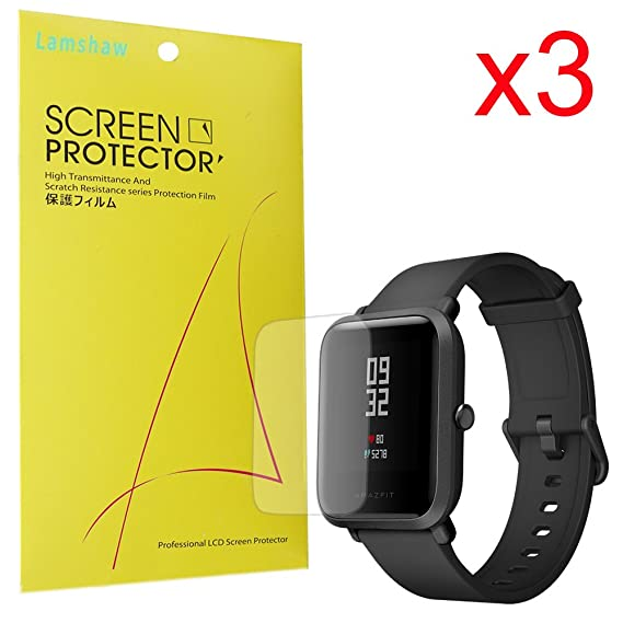 for Xiaomi Amazfit Bip Screen Protector, Lamshaw Premium High Definition Ultra Clear Screen Protector for Xiaomi Huami Amazfit Bip Younth Watch (3 ...