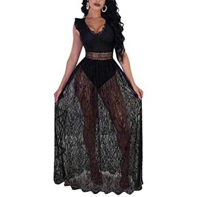 Aro Lora Women s V Neck Lace Sheer Mesh Maxi Dress Overlay Rompers Jumpsuit  Bodysuit Small Black a5855513f
