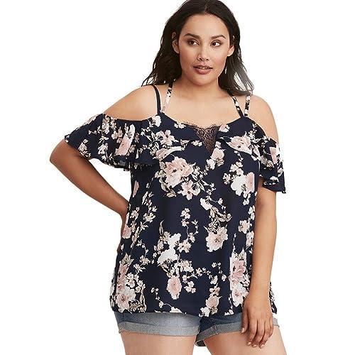 SHOBDW Mujeres Camisetas de talla grande sueltan la Camisa Atractiva Ocasional del Cordón de las Tap...