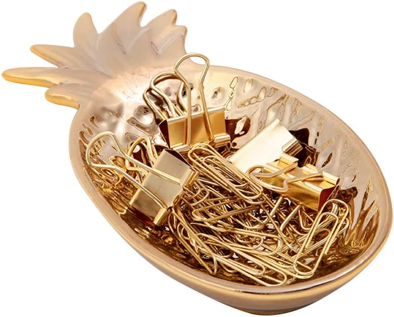 MultiBey Gold Paper Clips Binders Clips Ceramic Pineapple Tray Jewelry Holder Office Desk Accessories Organizer Home Decor