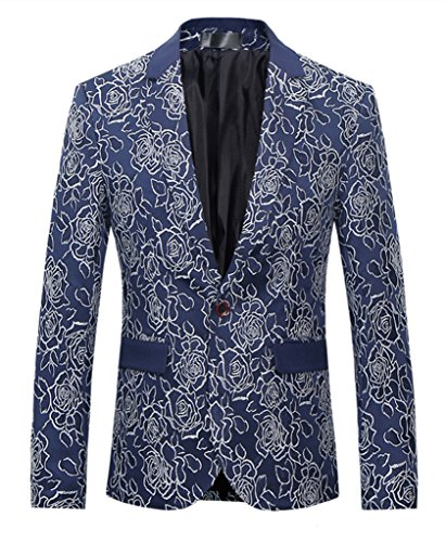 - MOGU Mens 1 Button Floral Cotton Blazer Sport Coat Jacket US Size 40 Blue