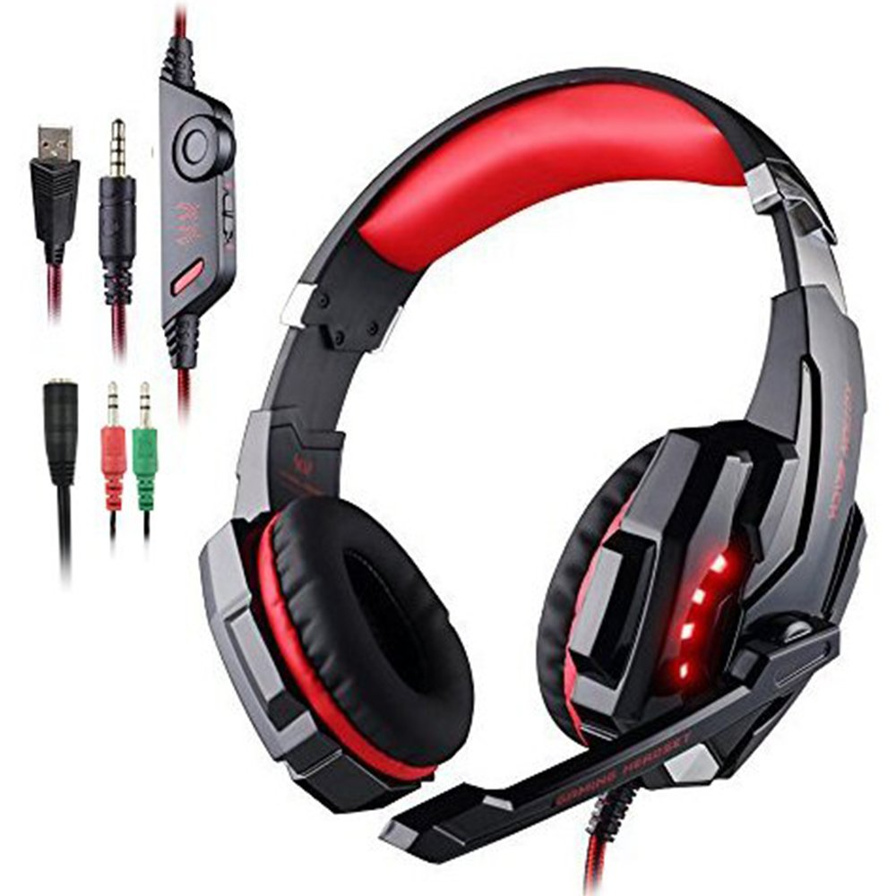 AFUNTA Gaming Headset for PlayStation 4 PS4 Tablet PC iPhone 6/6s/6 plus/5s/5c/5, 3.5mm Headphone with Microphone LED Light- Black + Red by AFUNTA
