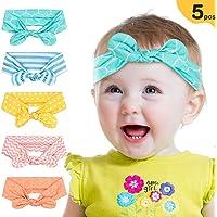 Peakally Diadema de Lazo para bebé, 5pcs Diademas Niñas Cintas Pelo Banda Cabeza Accesorio para Bebé,Niñas