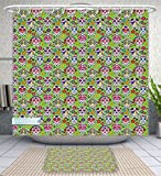 Unique Custom Bathroom 2-Piece Set Skulls Decorations Flowers And Skulls Day Catholic Ceremony Artistic Design Art Shower Curtains And Bath Mats Set, 66''Wx72''H & 23''Wx16''H