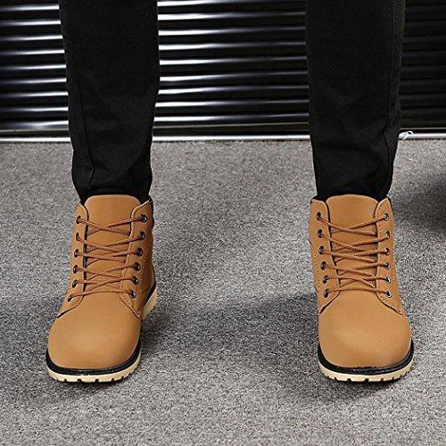 Martin Zapatos forro cordones Botines piel los Boots de Marrón Zapatos para con Invierno Manadlian hombres Otoño de Cordones de hombre TraqTA