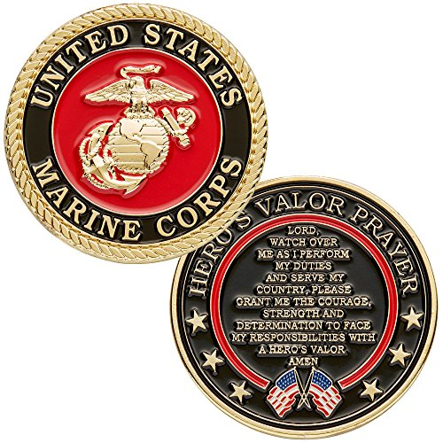 Hero's Valor United States Marine Corps Challenge Coin with Prayer 1-Pack (One Coin) ()