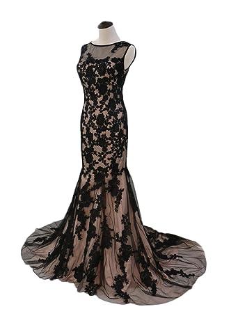 6445bd3bc340 CIRCLEWLD Black Lace Mermaid Evening Dresses Long Illusion Neck Women's  Formal Gown Appliques Blush+Black