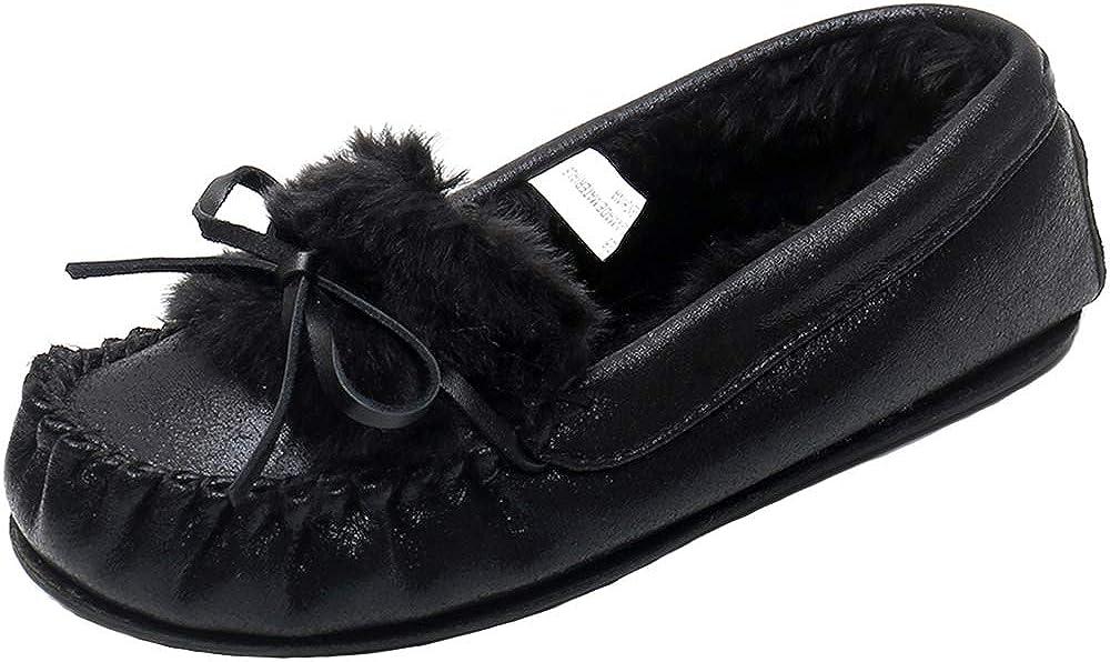 Real Fancy Women's Glitter Moccasin Slipper Faux Fur Lined Winter Slip On Loafer House Shoes